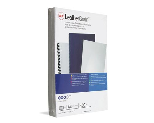 Обложки для переплета картонные GBC А4 250 г/кв.м белые текстура кожа 100 штук в упаковке - (129191К)