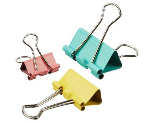Зажимы для бумаг Attache 19/25/32 мм цветные 12 штук в упаковке - (509196К)