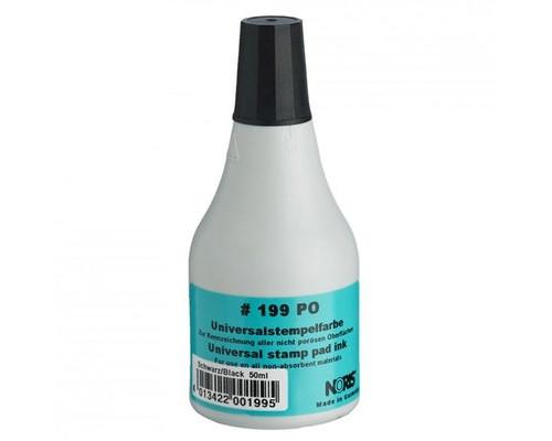 Краска штемпельная универсальная 199С черная для пластика каменя резины фольги 50мл - (520402К)