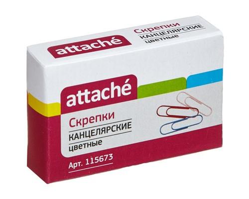 Скрепки Attache цветные металлические с полимерным покрытием 28 мм 100 штук в упаковке - (115673К)