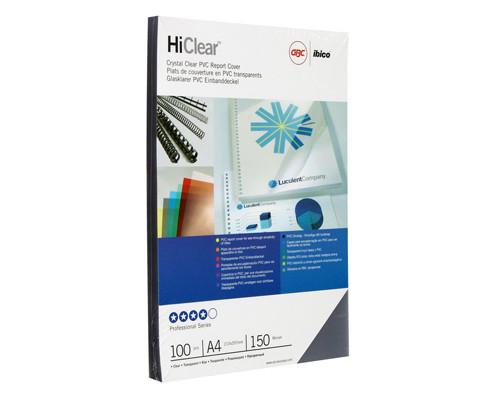 Обложки для переплета пластиковые GBC А4 150 мкм прозрачные глянцевые 100 штук в упаковке - (129178К)