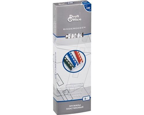 Пружины для переплета пластиковые ProfiOffice 6 мм белые 100 штук в упаковке - (4363К)