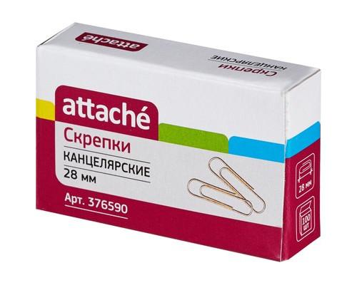 Скрепки Attache золотистые металлические 28 мм 100 штук в упаковке - (376590К)