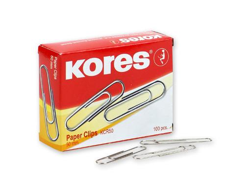 Скрепки Kores металлические никелированные 50 мм 100 штук в упаковке - (65495К)