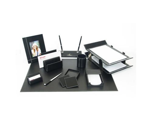 Настольный набор кожаный 10 предметов черный - (65916К)