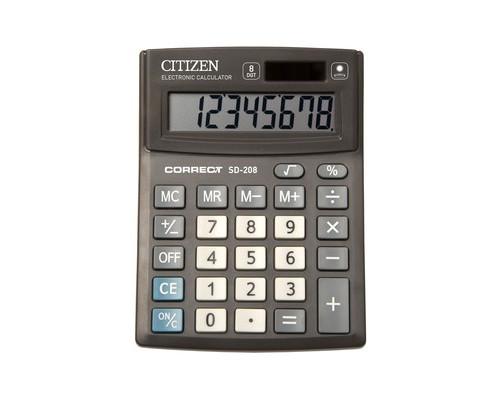 Калькулятор настольный Citizen Correct SD-208 8-разрядный черный - (480262К)