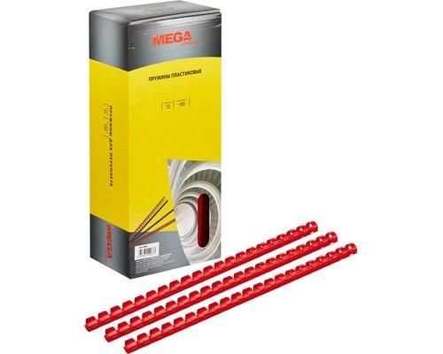 Пружины для переплета пластиковые ProMega Office 12 мм красные 100 штук в упаковке - (255089К)
