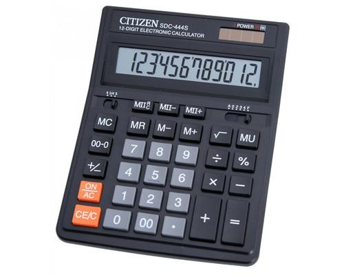 Калькулятор настольный Citizen SDC-444S 12-разрядный черный - (176189К)
