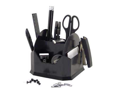 Настольный набор Attache черный 15 предметов вращающийся - (168560К)