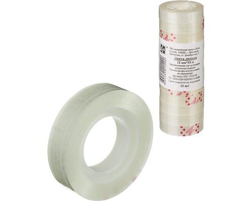 Клейкая лента канцелярская прозрачная 12 мм х 33 м 12 штук в упаковке - (107513К)