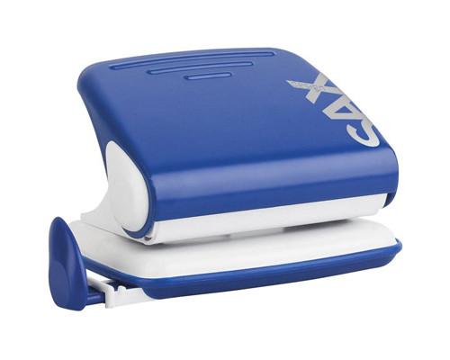 Дырокол Sax Design 318 до 20 листов синий с линейкой - (265701К)