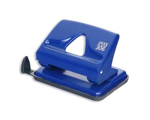 Дырокол Sax 306 до 20 листов синий с линейкой - (50973К)