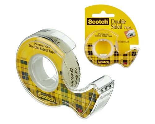 Клейкая лента канцелярская Scotch прозрачная двухсторонняя 12 мм x 6.3 м с диспенсером - (631915К)