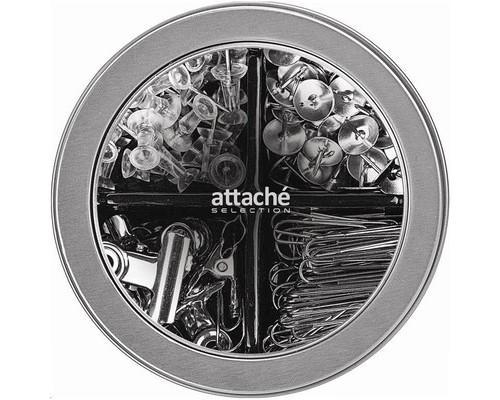 Набор канцелярский Attache Selection Silver скрепки 28 мм силовые кнопки металлические кнопки зажимы для бумаг 22 мм - (329652К)