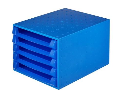 Бокс с выдвижными лотками открытый Exacompta синий прозрачный 5 открытых лотков - (325522К)