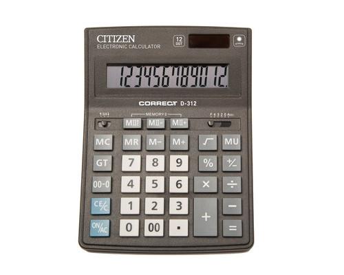 Калькулятор настольный Citizen Correct D-312 12-разрядный черный - (480259К)