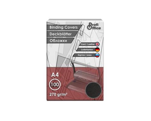 Обложки для переплета картонные ProfiOffice A4 270 г/кв.м черные текстура кожа 100 штук в упаковке - (31361К)