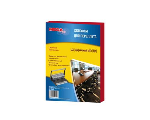 Обложки для переплета картонные ProMEGA Office А4 250 г/кв.м красные текстура лен 100 штук в упаковке - (254619К)