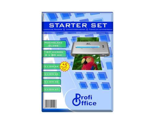 Пленка для ламинирования ProfiOffice стартовый набор А4-А5-А6-А7 2х80 мкм глянцевая А4 матовая 35 штук в упаковке - (467734К)