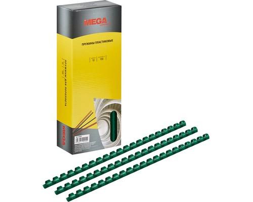 Пружины для переплета пластиковые ProMega Office 10 мм зеленые 100 штук в упаковке - (255082К)