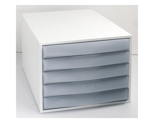 Бокс с выдвижными лотками Exacompta закрытый 5 отделений серый - (260804К)