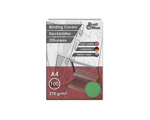Обложки для переплета картонные ProfiOffice A4 270 г/кв.м зеленые текстура кожа 100 штук в упаковке - (31400К)