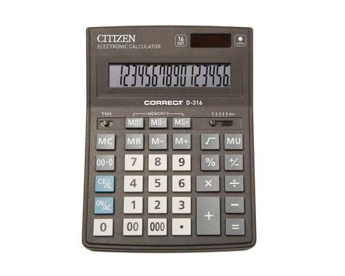 Калькулятор настольный Citizen Correct D-316 16-разрядный черный - (480261К)