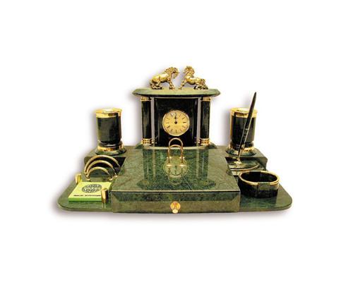 Настольный набор Премьер-1 мраморный 8 предметов зеленый - (44703К)