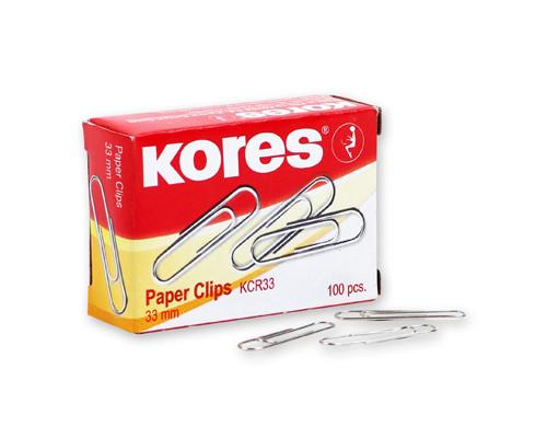 Скрепки Kores металлические никелированные 33 мм 100 штук в упаковке - (60913К)