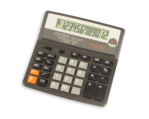 Калькулятор настольный Citizen SDC-620 II 12-разрядный черный - (17573К)