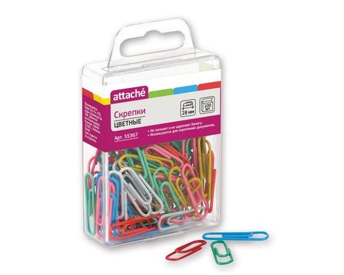 Скрепки Attache цветные металлические с полимерным покрытием овальные 28 мм 100 штук в упаковке - (55367К)