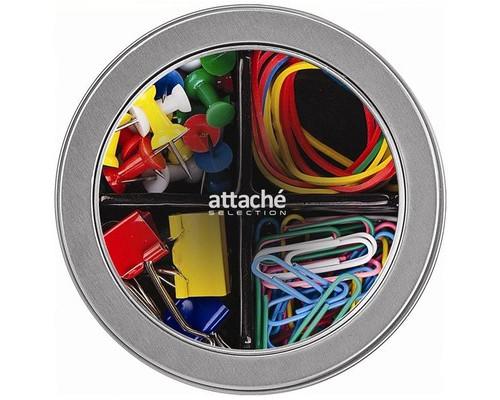 Набор канцелярский Attache Selection Mix цветной скрепки 28 мм силовые кнопки банковские резинки зажимы для бумаг 19 мм - (329653К)
