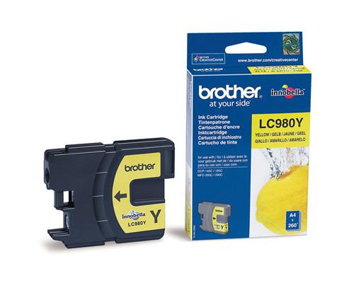 Картридж струйный Brother LC980Y желтый оригинальный - (159257К)