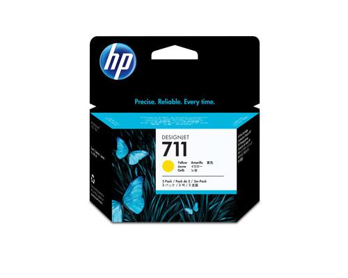 Картридж струйный HP 711 CZ136A желтый тройная упаковка оригинальный - (316332К)