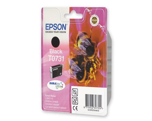 Картридж струйный Epson T0731 C13T10514A10 черный оригинальный - (95658К)