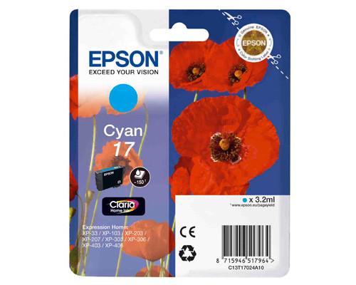 Картридж струйный Epson 17 C13T17024A10 голубой оригинальный - (266861К)