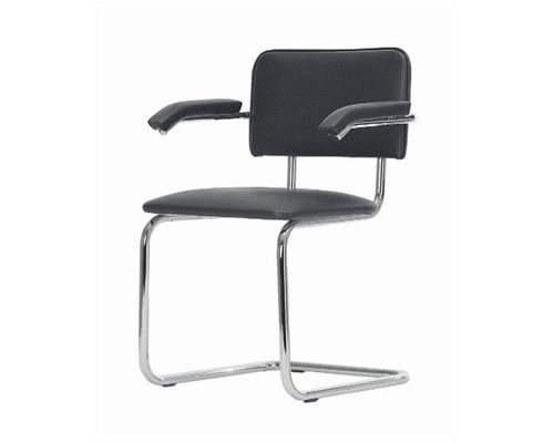 Конференц-стул Silwia Arm черный искусственная кожа/металл хромированный - (123950К)