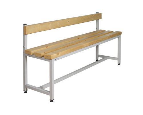 Скамья деревянная СК-1С-1500 на металлокаркасе со спинкой сосна 1500х390х470 мм - (237722К)
