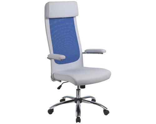 Кресло для руководителя Easy Chair 507 TPU белое/синее искусственная кожа/сетка/металл - (273570К)
