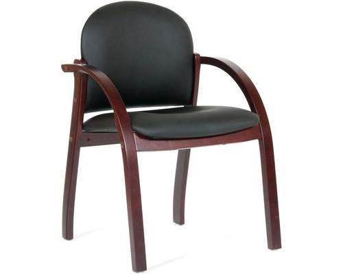 Конференц-стул Chairman 659 черный матовый искусственная кожа/темный орех - (385143К)