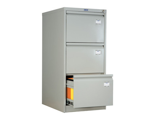 Шкаф картотечный металлический Практик AFC-03 для документов А4 3 отделения, 470x630x1020 мм - (31572К)