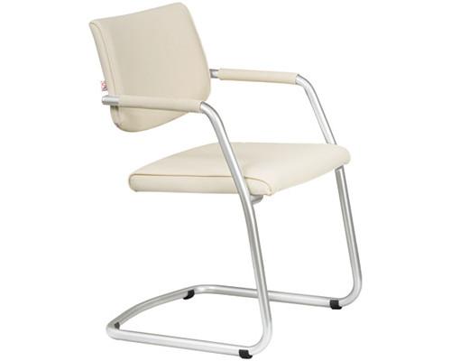 Конференц-стул Delta silver на полозьях светло-бежевый искусственная кожа/металл серебристый - (234636К)