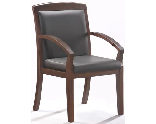 Конференц-стул Easy Chair 421 KR черный рециклированная кожа/темный орех - (325294К)