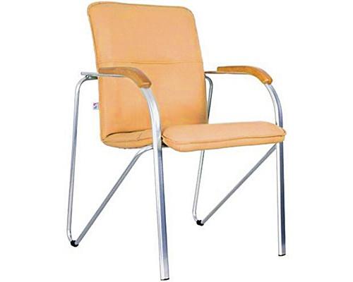 Конференц-стул Samba бежевый искусственная кожа/вишня/металл хромированный - (180787К)