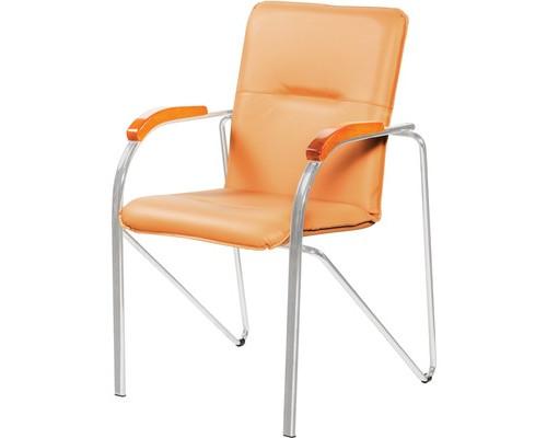 Конференц-стул Samba silver бежевый искусственная кожа/вишня/металл серебристый - (100551К)