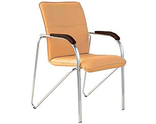 Конференц-стул Samba silver бежевый искусственная кожа/орех/металл серебристый - (100550К)