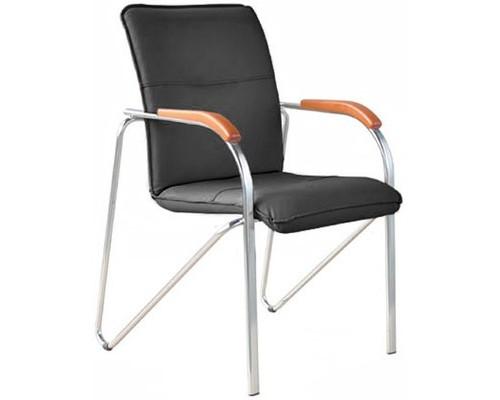 Конференц-стул Samba silver черный искусственная кожа/вишня/металл серебристый - (100553К)