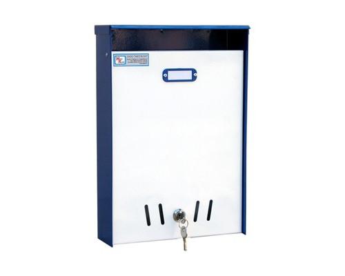Ящик почтовый ЯП-1 1-секционный металлический белый/синий 240 x 85 x 350 мм - (410549К)