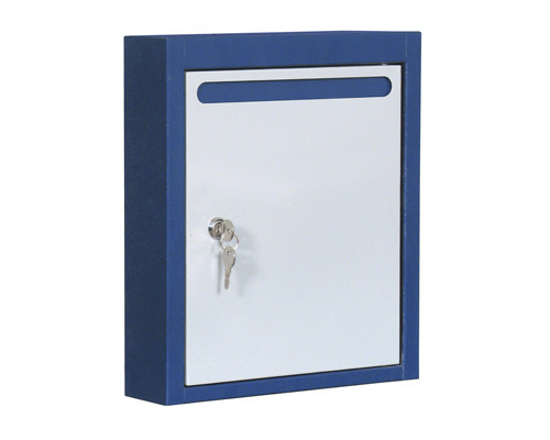 Ящик почтовый ЯПК-1 1-секционный металлический синий/светло-серый 280 x 75 x 375 мм - (286258К)