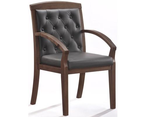 Конференц-стул Easy Chair 422 KR черный рециклированная кожа/темный орех - (325295К)